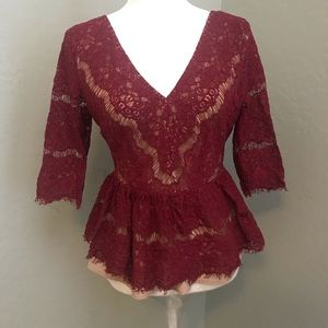 Anthropologie Cranberry Lace Peplum Top